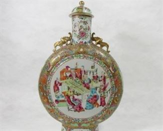 A Large Rose Medallion Moon Flask Bianhu