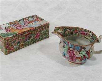 A Rose Medallion Divided Box and Creamer