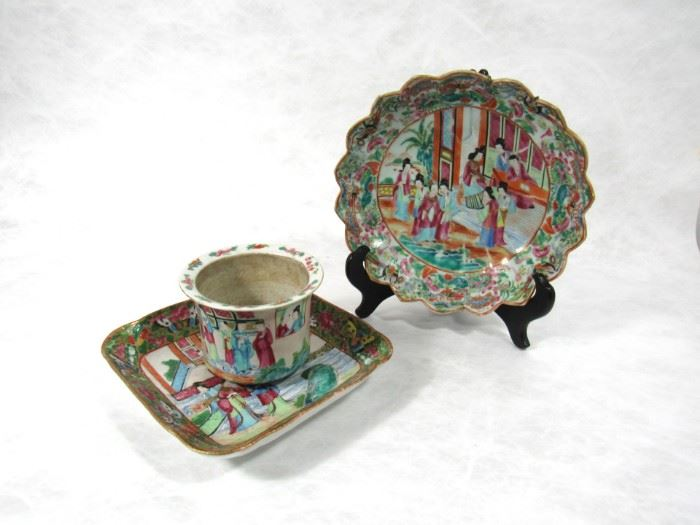 A Rose Medallion Jardiniere and Two Dishes