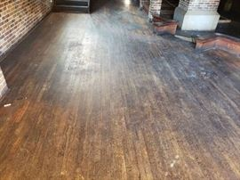 Wooden floor in bar area