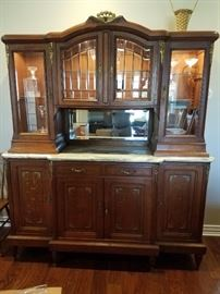 EXQUISITE FRENCH MARBLE TOP STEP BCK CUPBOARD/ CHINA CABINET  ~ $1500 OBO