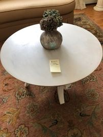 "30"" distressed light grey painted coffee table $50"