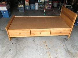 Pine twin size captains bed with 3 drawers $100