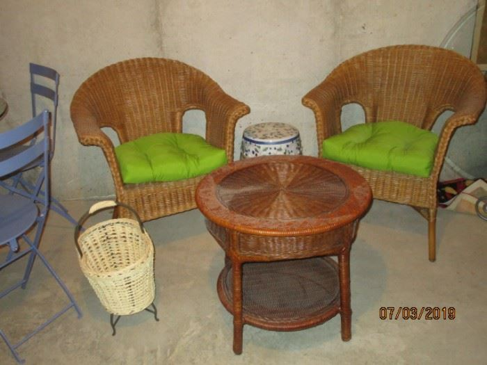 another pair wicker chairs and wicker table, wicker basket