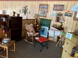 Bookcases, Rocking chairs, Footstools, Wardrobe Steamer Trunk