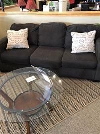 Sofa, Pillows, & Round Coffee Table