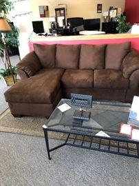 Sofa, Ottoman, Coffee Table, & Decor