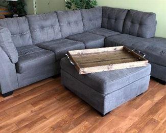 Sectional Sofa, Ottoman, & Tray