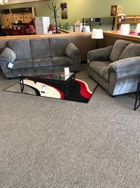Sofa, Loveseat, Pillows, Coffee Table, Rug, & Decor