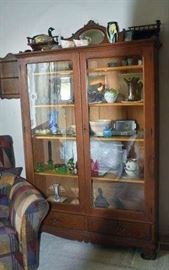 Antique China Cabinet and Glassware