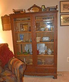 Antique Wood Oak China Cabinet by Shebogan