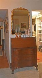 Drop Leaf Desk, Carnival Glass Candle Sticks, Hand Painted Vase