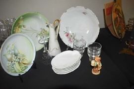 Hand Painted Bowls, Pitcher, Plates, Bone Dishes, Hummel