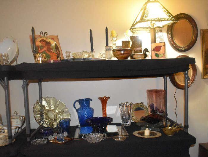 Vogue Records, Antique Slag Lamps, Lace Edge Cobalt Dish, Carnival Vase