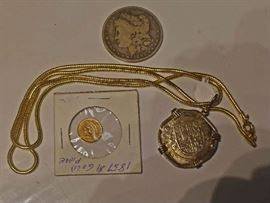 1887 Coin, Gold Coin, Spanish 4 Reale