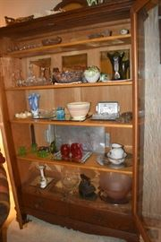 Inside Antique China Cabinet Carnival Glass Spagetti bowls Sating Glass Vaseline Glass