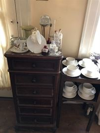 Great marble top antique apothecary cabinet