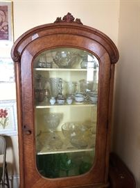 Antique curly maple china  cabinet packed full