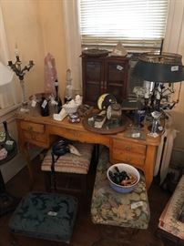 Beautiful curly maple French Vanity, assortment of stools, small curio cabinet