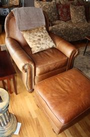 Gorgeous Leather chair & ottoman