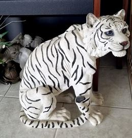 Large sitting white tiger (appears to be resin)