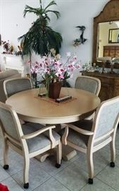 Round top light wood dining set with 6 rolling arm chairs(not sure if there are extra leaves yet).  Artificial pink orchid in brown pot.