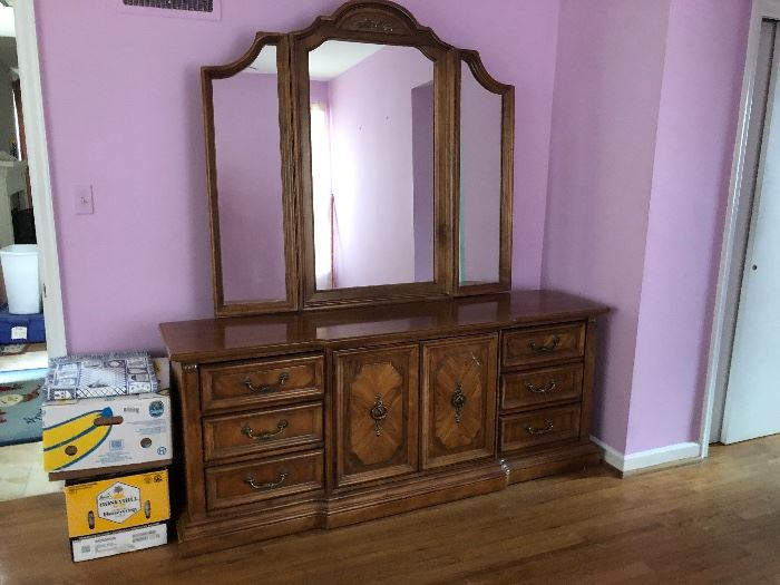 AVAILABLE  NOW FOR PRE-SALE * Great Stanley Dresser with Mirror. Dimensions 74 Inches Wide, 30 Inches Tall, 18 Inches Deep. Mirror Dimensions 57 Inches Wide, 51 1/2 Inches Tall.