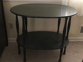 Antique Oval Oak Bedside Table