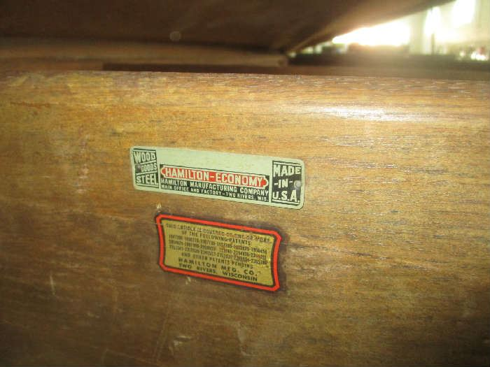 Labels on antique drafting table