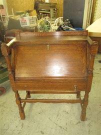 Antique oak slant drop front desk