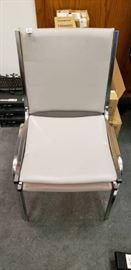 Metal White Vinyl Waiting Room Chair