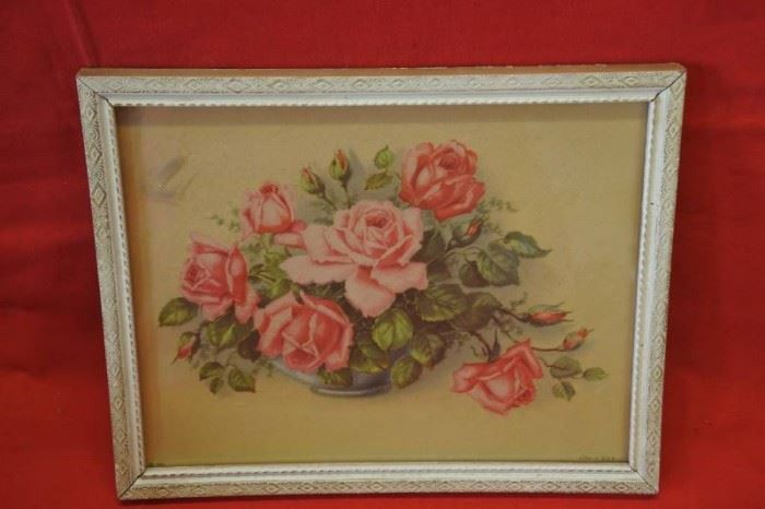 Bouquet of Red and Pink Roses in White Frame
