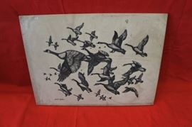 Geese take Flight Etching in Stone Slate