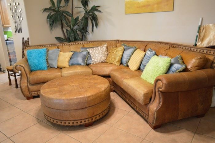 Leather sectional, ottomon