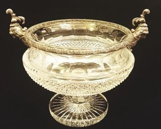 EARLY ANTIQUE CUT CRYSTAL BOWL WITH SILVER MOUNTS