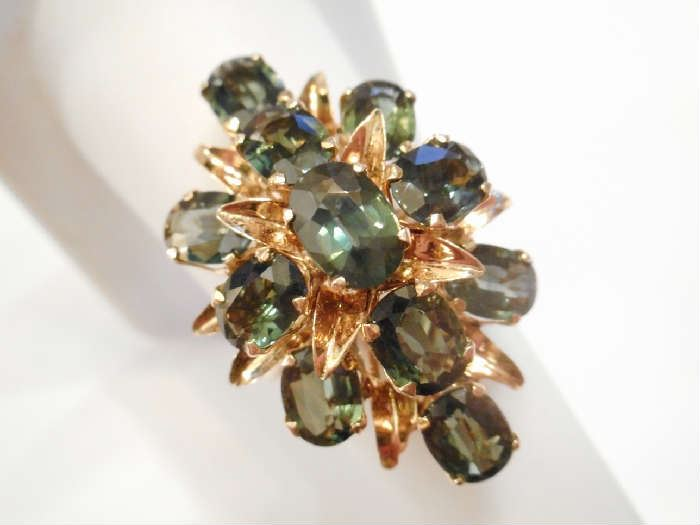 1950'S 14KT GOLD AND GEMSTONE RING