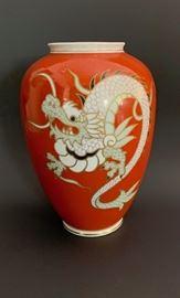 Red German dragon vase