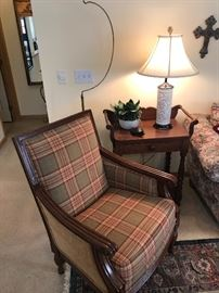Flexsteel Chair.  Antique stand used as lamp table