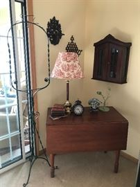 Drop leaf table, hanging cabinet and shelves, iron plant or birdcage stand