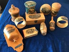 Mauchline Ware souvenir items from 1800's.