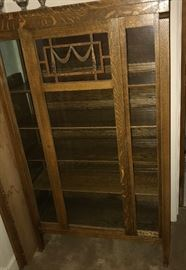 Mission oak glassfront bookcase