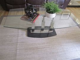 GLASS TOP COFFEE TABLE  RUG NOT FOR SALE