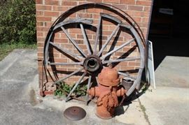 Vintage Fire Hydrant & Wheel