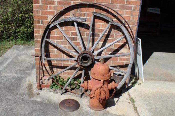 Vintage Fire Hydrant & Wheel