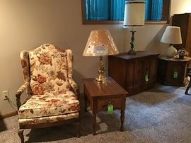 Nice chair,side table,table lamp