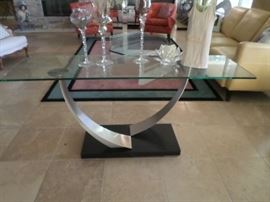 """Tempered Glass /Brushed Silver Sofa or Entry Table Size: 5'  long x 18"""" deep"""