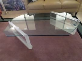 Large Lucite and Glass Cocktail Table