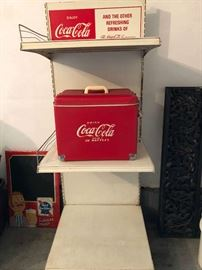 Antique Coca-Cola display stand and cooler.