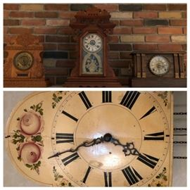 Antique clocks.  (3) mantel/shelf clocks and (1) hanging clock.