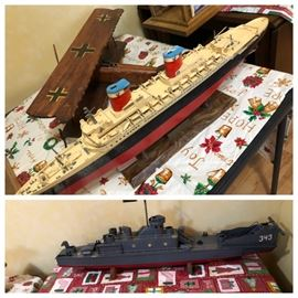 Wooden model plane and model ships. All handmade!